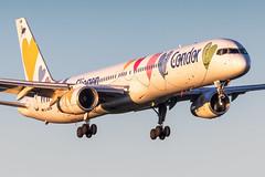 D-ABON Condor Boeing 757-330 (buchroeder.paul) Tags: eddl dus dusseldorf düsseldorf nordrheinwestfalen north rhinewestphalia germany deutschland europe europa final dabon condor boeing 757330 dusk abend