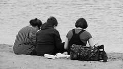 Sunday at Porty 010 (byronv2) Tags: portobello edinburgh sea northsea forth firthofforth riverforth rnbforth rnbfirthofforth beach edimbourg scotland river coast coastal street candid peoplewatching trio woman sitting seated blackandwhite blackwhite bw monochrome