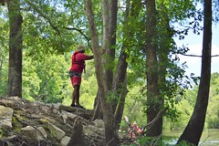 Xavier prepares to exit the land and enter the river (Mr. Russell) Tags: edistoriver southcarolina lowcountryunfiltered lcu kayak water river paddling