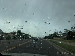 June 14, 2019 - Raindrops on the windshield. (LE Worley)