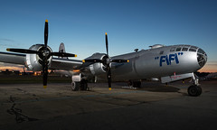 Sunrise & B-29 Superfortress NX529B Fifi (Vzlet) Tags: caf commemorativeairforce airpowertour martinstate kmtn mtn boeing b29 superfortress fifi nx529b strobist sunrise
