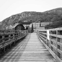 Barmouth Railway Bridge (Howie Mudge LRPS BPE1*) Tags: barmouth railwaybridge fence beams gwynedd wales cymru blackandwhite mono monochrome mamiyac330s twinlensreflex tlr mediumformat 6x6 120film fomapan400 analog analogphotography film filmphotography