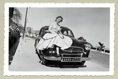 "Renault Frégate (Vintage Cars & People) Tags: vintage classic black white ""blackwhite"" sw photo foto photography automobile car cars motor lady woman girl renault frégate renaultfrégate départementnord dress pumps heels barcelona easter pâques holiday holidays vacances ferien urlaub 1950s 50s fifties"