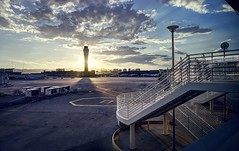 Waiting for the plane that finally came (PeterThoeny) Tags: lasvegas nevada usa airport mccarraninternationalairport outdoor tarmac stairs tower airporttower sun sunset clouds cloudy sony a6000 selp1650 3xp raw photomatix hdr qualityhdr qualityhdrphotography fav100