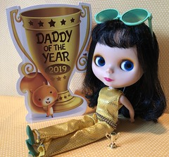 """BaD """"Fathers Day"""" June 17, 2019 (Foxy Belle) Tags: doll blythe goldie bl matte fathers day bad 2019 17 stock card holiday all gold one 2001 16 playscale"""