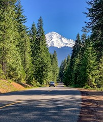 Castle Lake Road in Northern California with Mount Shasta looming in the distance (lhboudreau) Tags:
