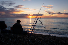 Old fisherman in front of the Ocean (jlmicrocosm) Tags: fisherman landscape sunset ocean sun color fishing soleil normandie plage beach landscapes paysages