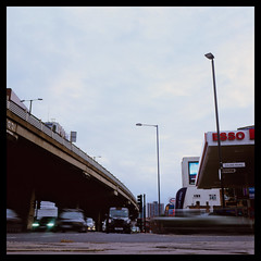 M4 (Jamie Langford) Tags: m4 brentford london motorway road traffic evening rolleiflex t35 velvia50 120film analogue