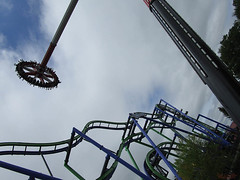 Six Flags New England. (Bob Cornellier) Tags: sixflagsnewengland six flags roller coaster coasters thrill ride carousel epic fun happy sun summer red green blue train agawammassachusetts agawam massachusetts east coast harley quinn spinsannity
