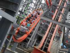 Six Flags New England. (Bob Cornellier) Tags: sixflagsnewengland six flags roller coaster coasters thrill ride carousel epic fun happy sun summer red green blue train agawammassachusetts agawam east coast wicked cyclone rocky mountain construction hybrid
