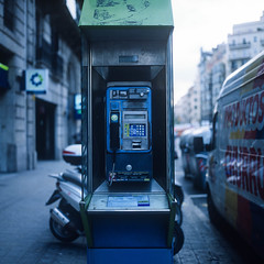 Barcelona Phone (RunnyInHongKong) Tags: mediumformat nikoncoolscan9000 positive spain barcelona 6x6 carlzeiss80mmf28 hasselblad500cm vuescan film fujiprovia400x