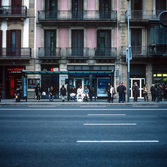 Barcelona Bus Stop (RunnyInHongKong) Tags: mediumformat nikoncoolscan9000 positive spain barcelona 6x6 carlzeiss80mmf28 hasselblad500cm vuescan film fujiprovia400x