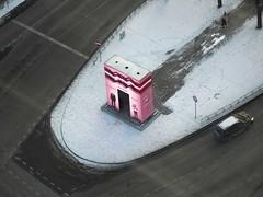 Mus Latvia (Wormsmeat) Tags: riga latvia road street arch traffic pink lonefigure olympus 12100mzuikopro penf height car advert advertisement snow