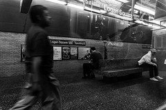 Places to Be (3rd-Rate Photography) Tags: people street streetphotography blackandwhite bw subway chicago reflection train sony a6300 3rdratephotography earlware logansquare logansquarestation