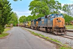 CSX A016-28 w/ EMD Power Set (Steve Hardin) Tags: railroad train georgia track engine railway equipment mow wa locomotive railfan scl csx seaboardcoastline cartersville emd sd70mac sd403 maintenanceofway westernatlantic widecab flatcar