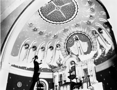 Artist James Wieneke putting the finishing touches to a mural for St Joseph's Church at Kangaroo Point in Brisbane, 1948 (State Library of Queensland, Australia) Tags: queensland statelibraryofqueensland artists painters churches mural churchinterior stjosephschurch