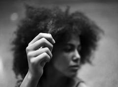Natural Hair (reganh22) Tags: film filmphotography filmcamera filmisnotdead face hair bwfilm blackwhite bw beauty buyfilmnotmegapixels mediumformat mamiya mamiyam645 m645 sekorc80mmf28 chicago naturalhair africanamerican black