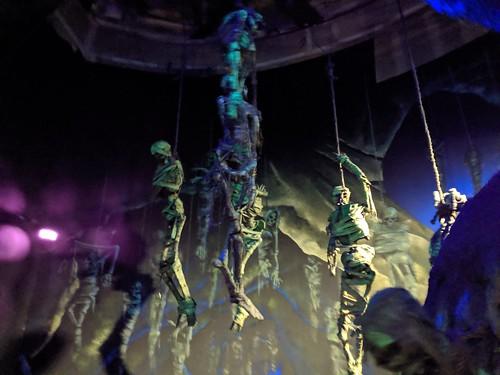 Skeletons 1, Indiana Jones with the lights on, Disneyland, Anaheim, California