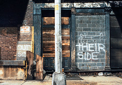 012 NYC Beach Street Our Side Their Side (Lather and Froth) Tags: text graffiti tribeca