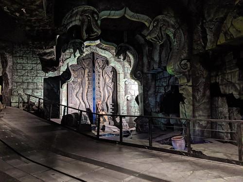Indie and doors 3, Indiana Jones with the lights on, Disneyland, Anaheim, California