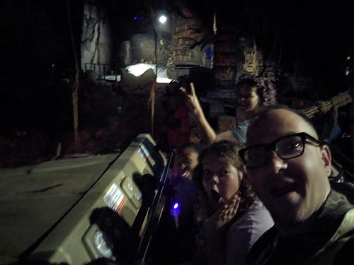 Me, Poesy, Jordan and Alice, Selfie, Indiana Jones with the lights on, Disneyland, Anaheim, California