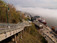 Long way Down (bighairphotos1) Tags: quebeccity quebec stairs water fog boats steps lowertown docked docks st lawrence seaway