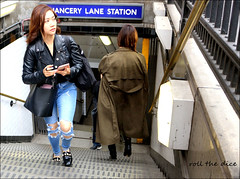 `2662 (roll the dice) Tags: london camden ec1 chancerylane tube underground exit roundel asian pretty sexy girl jeans streetphotography surreal sad mad fun funny smile happy bored lost confused natural people fashion chinese portrait stranger candid urban unaware unknown england classic uk art travel transport canon tourism tourists reaction holborn lunch stairs eyes face mobile phone