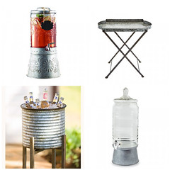 Galvanized Drink Dispensers, Planter & Tray Table (Heath & the B.L.T. boys) Tags: galvanized metal bucket tray table drink label planter chalkboard