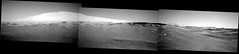 Mount Sharp and Right-Side View (sjrankin) Tags: 17june2019 edited panorama nasa mars msl curiosity galecrater mountains sky haze dust rocks grayscale mountsharp