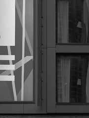 Windows and Sign (Nick Condon) Tags: abstract architecture blackandwhite chicago miraclemile olympus75mm olympusem10 sign wall