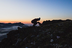 Buckhorn Pass (gmolteni) Tags: washington pnw mountains mountain dog puppy silhouette fog sunset national park nps olympics