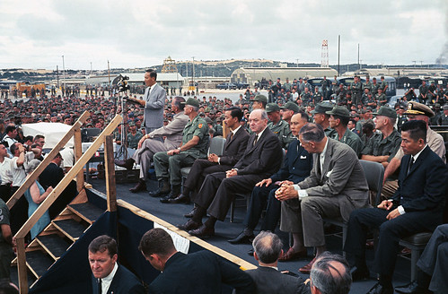 Lyndon Johnson With Officials on Platform