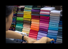 Which one? (Antoine - Bkk) Tags: fabric market bangkok thailand colorful gradient