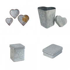 Galvanized Hearts & Boxes (Heath & the B.L.T. boys) Tags: galvanized metal heart box tray