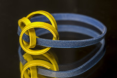 RubberBands (Pertinan) Tags: blue geometric macro macromondays radial reflection stilllife yellow curves