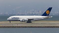085A6433 Lufthansa A380-800 D-AIMK at KSFO. (midendian) Tags: ksfo sfo sanfranciscointernational airport airplane aircraft a388 a380 daimk lufthansa
