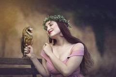 Tenderness (Irena Rihova) Tags: pinkdress dress contact tenderness cute natural nature animal wild bird owl sitting young hair fashion human female woman portrait