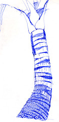 Costa Rica diary: sketch of palm tree (elizabatz.jensen) Tags: palm storm rooots sketch pen trunk horizontal line ballpoint