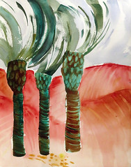 Moroccan palms in watercolour (elizabatz.jensen) Tags: moroccan palms storm watercolour palm rooots sketch trunk horizontal line