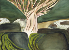 Sea Wall Beyond Kitsilano: Watrecolour Painting (elizabatz.jensen) Tags: seawall rock granite painting watercolor kitsilano watercolour sketch