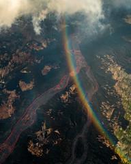 Rainbow Over the Lava Flow (Kurt Lawson) Tags: 2018eruption aerial bigisland destruction eruption flow forest hawaii kilauea lava leilaniestates magma rain rainbow river trees volcanic volcano