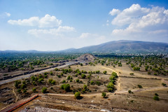 View to the Pyramid of the Moon from the Pyramid of the Sun (Tigra K) Tags: méxico architecture landscape mexico 2012 teotihuacán road mountain tree rock square temple path ruin