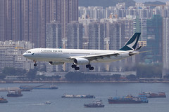 B-HLN, A330-300, Cathay Pacific Airways, Hong Kong (ColinParker777) Tags: airbus a330 333 a330300 330300 330 airplane aircraft aeroplane airliner cx cpa cathay pacific airways airline airlines ltd hkg vhhh hong kong airport terminal hksar chek lap kok landing finals colours new scheme canon 7d 7d2 7dmk2 7dii 7dmkii 200400 l lens zoom telephoto aviation flying flight transport travel bhln 389 a330343x tuen mun buildings city concrete jungle boats barges water harbour sea ocean
