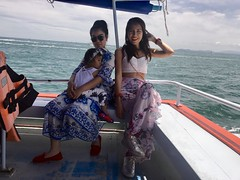 boat trip (ChalidaTour) Tags: thailand thai asia asian girls girl family boat water sea ocean wind blue