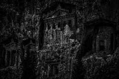 B5D_1267DM Carved into the Rock (foxxyg2) Tags: tombs rocktombs history lycian dalyan turkey mono monochrome bw blackwhite deepmono niksoftware dxo silverefex