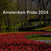 """Blooming red and yellow tulips in Keukenhof garden with visitors, next to title  """"Amsterdam Pride 2024"""""""