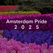 Bunte Blumenfelder in Regenbogenfarben, im niederländischen Keukenhof-Garten-Park hinter dem Bildtitel Amsterdam Pride 2025