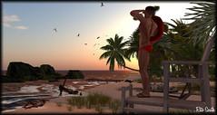 Lifeguard / Maître nageur / Salvavidas (Retogay (SL)) Tags: gay mesh men male signature gianni secondlife catwa victor piercing modulus tattoo necklace lifeguard beach helpstation sand sea rock red