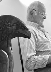 Waiting for the dentist (judy dean) Tags: judydean 2019 blackandwhite dentist waitingroom husband eagle carving