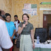 Ms Petra Penders from Luxembourg Foundation, greeting locals at Megale Woreda, Adu Kebele, Afar Region.